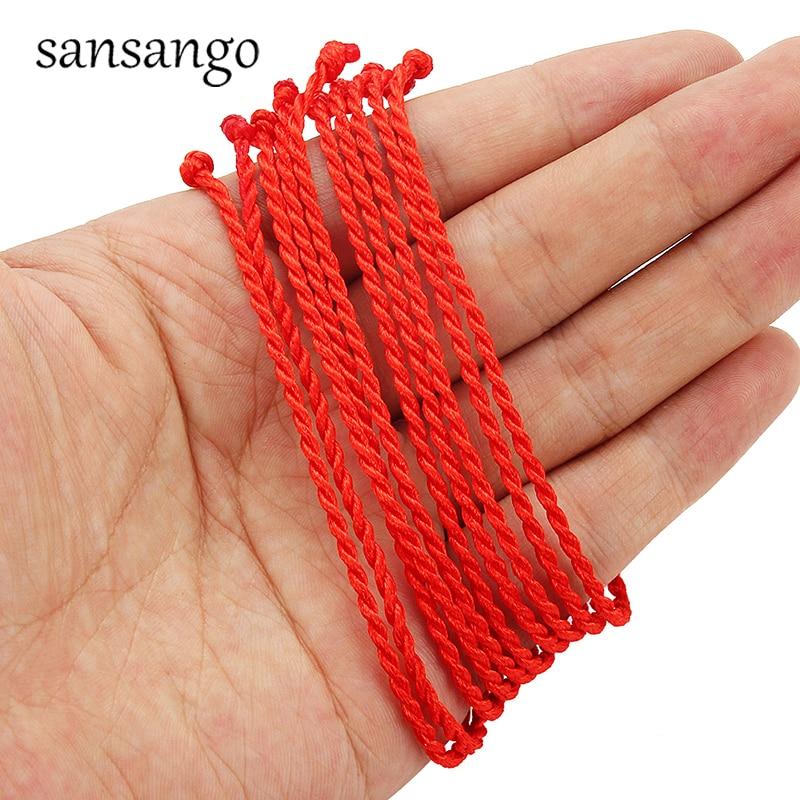 Rope Braided Bracelet Female Gift-Protection Men Gift Men's Women 10pcs 2mm Line Red
