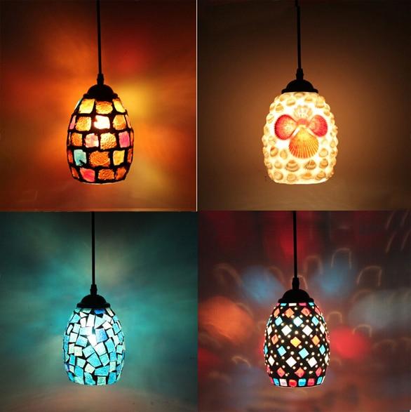ФОТО Bohemian Style Colorful Mosaic Glass Shell Pendant Light Cafe Restaurant lamp