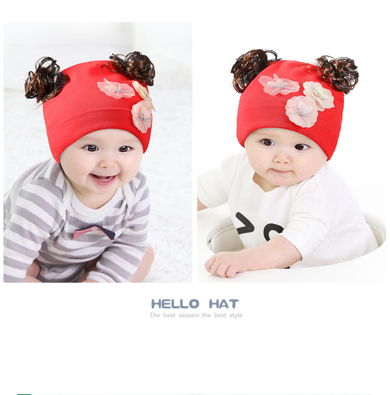 7a71fe5c5 2018 New Autumn And Winter Gods Bear Baby Wig Hat Female Curly Hat Baby Cap  Princess Hat Comfortable Hat ACI95