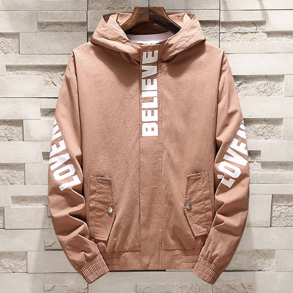 72ac30311d358 Detail Feedback Questions about Lncdis Plus Size M 4XL Men s Spring Autumn  Fashion Casual Alphabet Letter Printed Hooded Sports Jackets Coat Casacos  ...