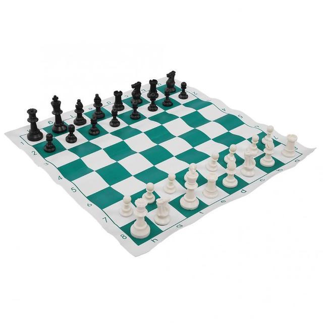 Ensemble d'échecs Portable en plastique voyage International échecs ultraléger jeu d'échecs avec grand sac en toile jeux d'échecs sac d'échecs 3