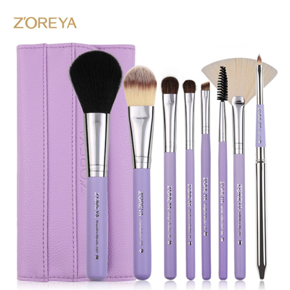 ZOREYA 8pcs Makeup Brush Set Professional Powder Blush Fan Concealer Eyeshadow Make Up Brushes For Beauty Women Cosmetic Tool