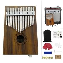 Electroacoustic 17 Key Kalimba Solid Acacia Wood Thumb Piano Mbira Natural Electronic Mini Keyboard Instrument