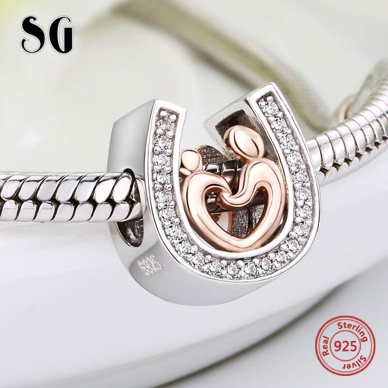 Argent 925 horseshoe CZ Charmes diy Maman et fils main dans la main Perles Fit Original pandora Bracelet pendentif fabrication de Bijoux cadeaux