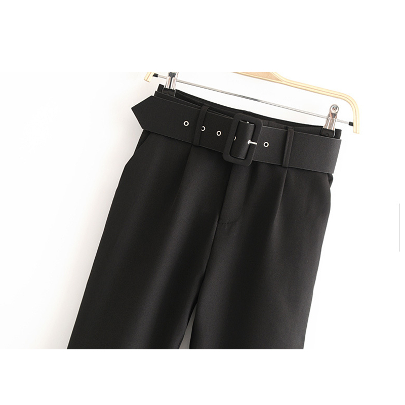 Black Suit Pants High Waist Pants Sashes Pockets Office Pants Fashion women bottoms Pencil Pants