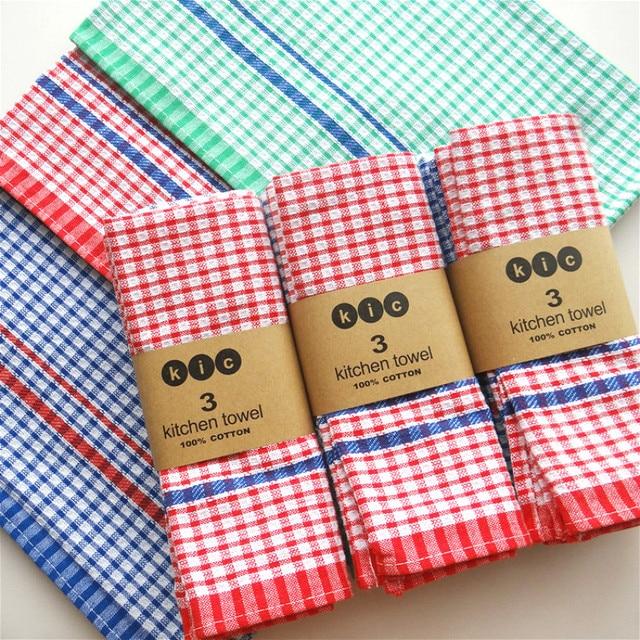 Kitchen Napkins Commercial Kitchens Cloth Table Plaid Napkin Wedding Home Towel Tea 45 70cm 3pcs Lot