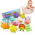 12 pcs Bonito Brinquedos Do Banho Do Bebê Segura Grau Float Aperto de Borracha Macia som Estridente Brinquedo de Banho Para O Bebê Crianças Speelgoed Voor em Mau