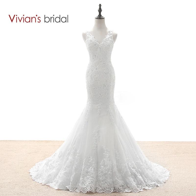Poročne obleke Vivian's Bridal Mermaid Country zahodne poročne obleke Čipkaste poročne obleke s čipkami Glejte skozi hrbet WD590-1