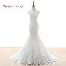 Vivian's Bridal Mermaid Wedding Dresses Country Western Wedding Dresses Lace Sequin Wedding Gown See Through Back WD590-1