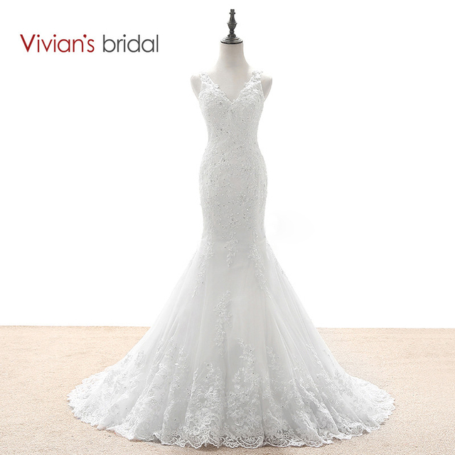 3e5694679c Vivian s Bridal Mermaid Wedding Dresses Country Western Wedding Dresses  Lace Sequin Wedding Gown See Through Back WD590-1