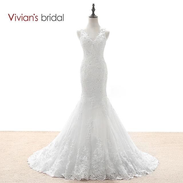 3e5694679c Vivian s Bridal Mermaid Wedding Dresses Country Western Wedding Dresses  Lace Sequin Wedding Gown See Through Back WD590-1