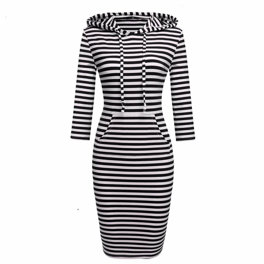 FEIBUSHI 2016 Fashion Women Elegant Striped Dress Splicing With Cap Long Sleeve Hooded Neck Bodycon Pocket Plus Size Dresses