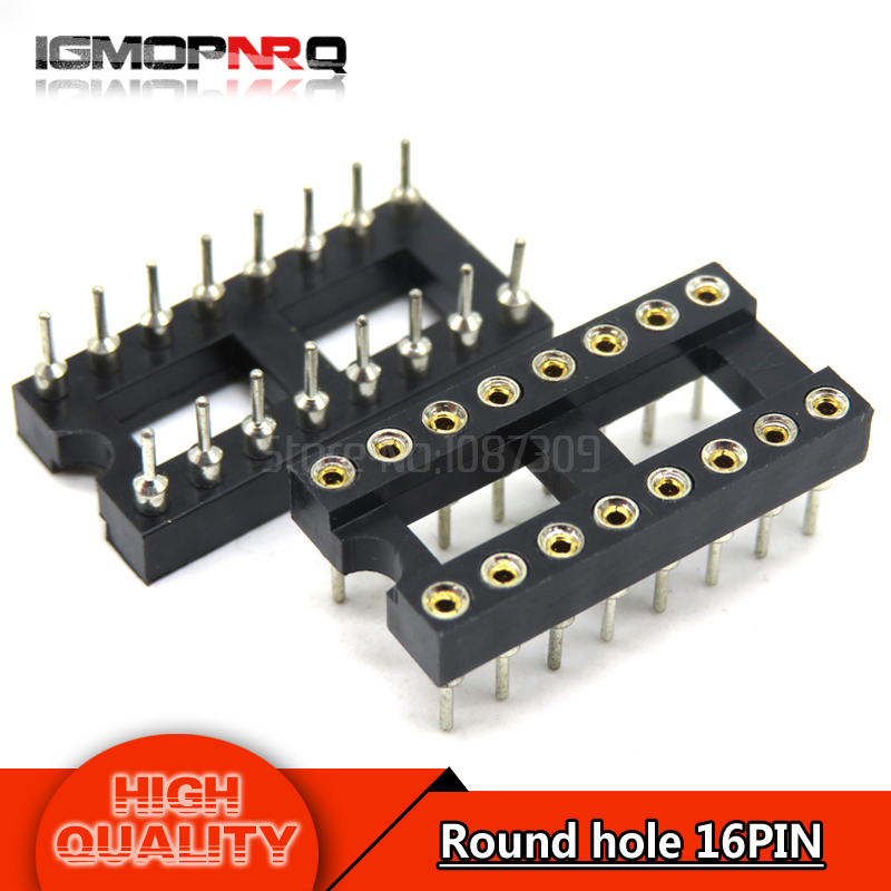 10pcs DIP16 Round Hole 16 Pins 2.54MM DIP 2.54 IC Sockets Adaptor Solder Type 16 PIN IC Connector