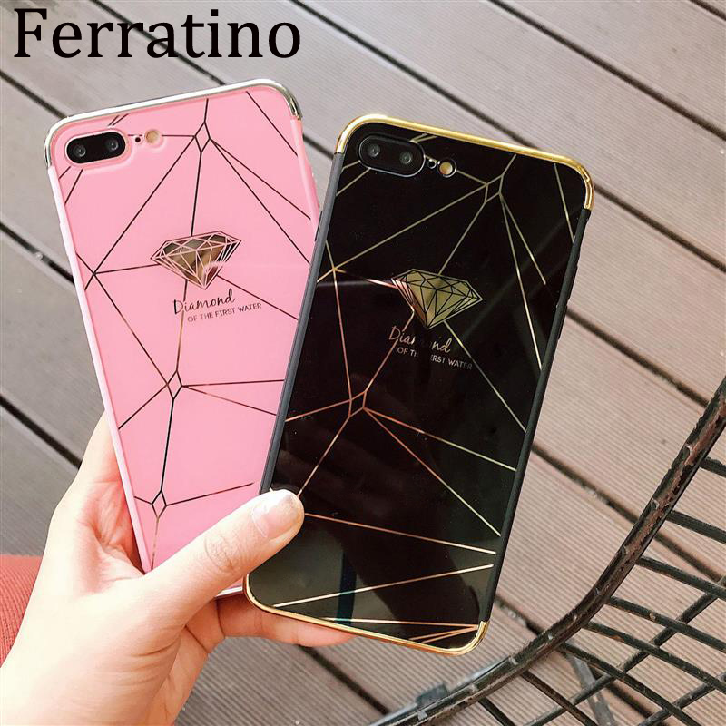 Luxury Electroplate Mirror Cover for iPhone XR X XS Max 7 Case Diamond Feather 6 6s 8 Plus Glossy Phone Coque Capa