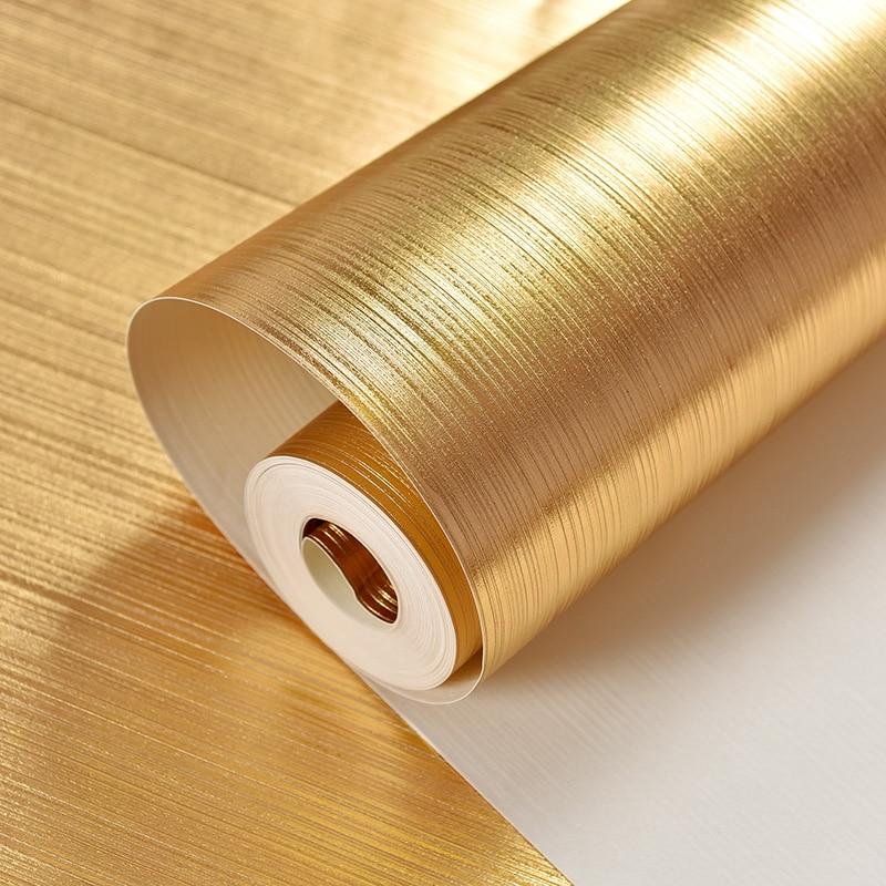 Купить с кэшбэком Luxury Gold Foil Wallpaper Gold Bedroom Sitting Room Condole Top Ceiling TV Sofa Background Wall Paper Roll