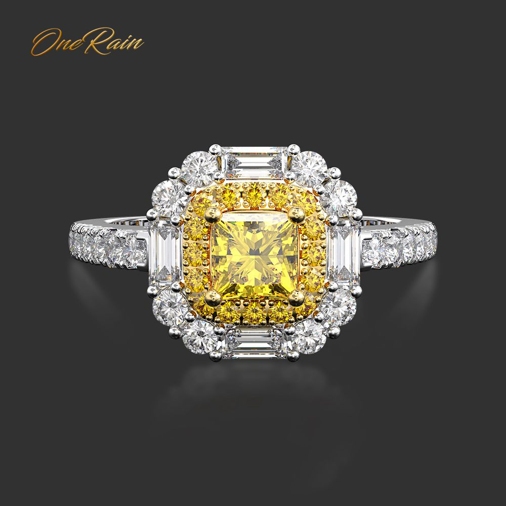 OneRain Vintage 100% 925 Sterling Silver Citrine Gemstone Wedding Engagement White Gold Ring Anniversary Fine Jewelry Wholesale