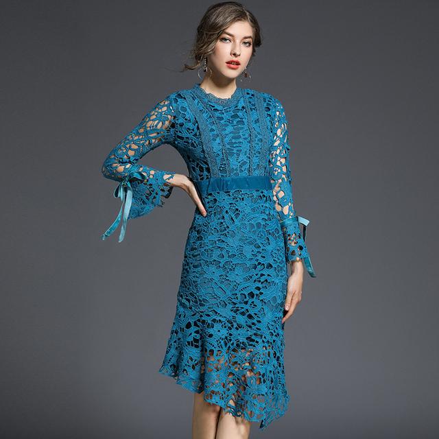 Blue Elegant Lace Mermaid Dress
