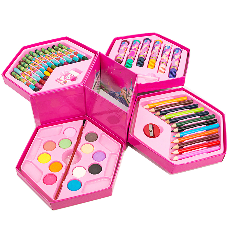 46pcs practical student painting stationery set gift box and girls cute stationery set for kid gift  paint school supplies kid s box 2ed 6 pb