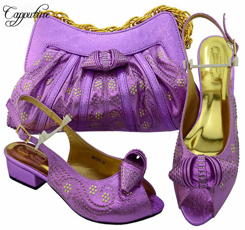 Capputine Newest Italian Woman Shoes And Bags Set African Style Low Heels Shoes And Bag Sets For Party Free Shipping MM1050 capputine new summer style slipper shoes and bag set african women high heels shoes and bags set for woman party free shipping