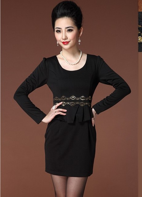 a12e4cdcc0ed Vogue female black elegant design high grade slim spring or autumn office  lady one pieces dress with lace and ruffle decoration