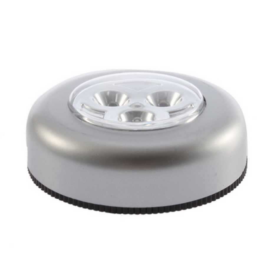 3 LED Touch Control Night Light Round Lamp Under Cabinet Closet Push Stick On Lamp Home Kitchen Bedroom Automobile Use