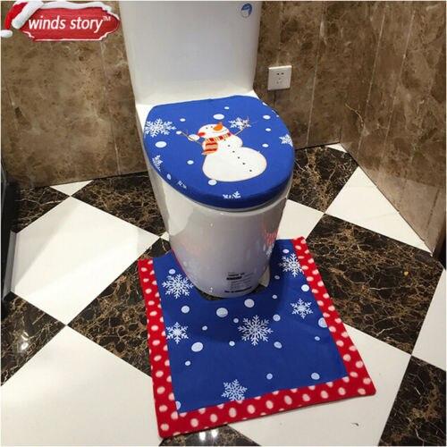 Santa Toilet Seat Cover Set Bathroom Rug Christmas Decorations