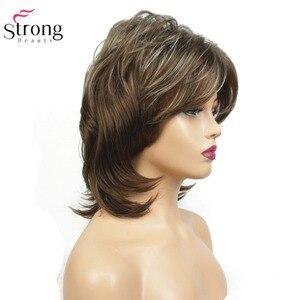 Image 5 - StrongBeauty peluca sintética para mujer, pelo negro, medio rizado, ombré, Auburn/postizo, Rubio Natural
