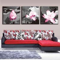 3 Stks/set Omlijst Roze Lotus In Grey Canvas Prints Schilderij Moderne Bloem Muur Foto voor Thuis Decoratieve Klaar te Hangen