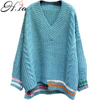 HSA Women Pullover and Sweaters 2018 Autumn Sweater Jumpers Solid Striped V neck Irregular Fashion Korean Jumpers Oversize Tops