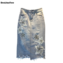 купить 2019 women vintage denim skirt fringe tassel pockets european style ladies midi skirts Vintage Jeans Skirts(no belt) дешево