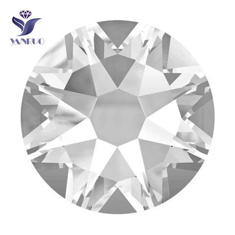 YANRUO #2088HF Crystal Clear 8 Big 8 Small Strass Hotfix Crystals Flat Back SS16 SS20 SS30 Hot Fix Glass Rhinestones
