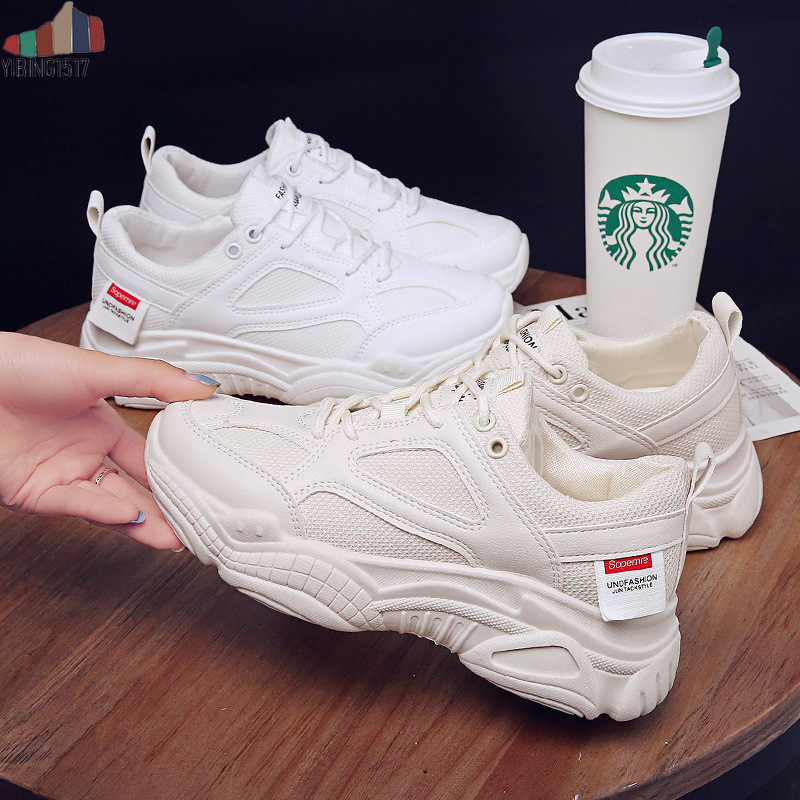 Women Casual Shoes Lovers Leather Dad Platform Chunky Sneakers Harajuku Flat Thick Sole Tennis Wedge White Basket Walking