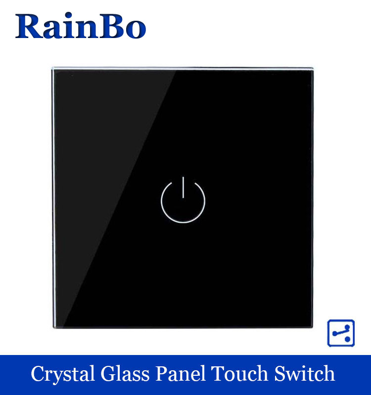 rainbo Crystal Glass Panel wall switch EU Standard 110~250V Touch Switch Screen  Light Switch 1gang2way balck LED Lamp A1912B smart home us au wall touch switch white crystal glass panel 1 gang 1 way power light wall touch switch used for led waterproof