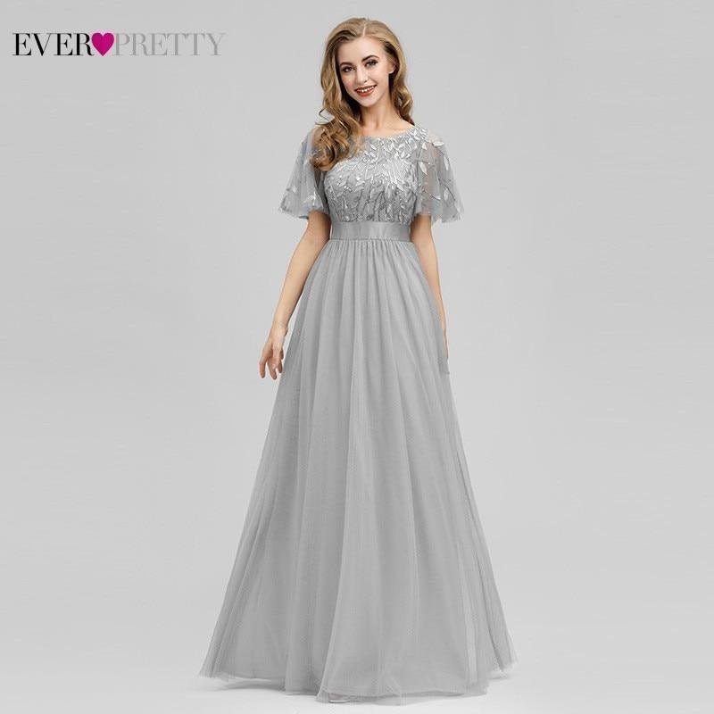 Robe De Soiree Sparkle Evening Dresses Long Ever Pretty EP00904GY A Line O Neck Short Sleeve