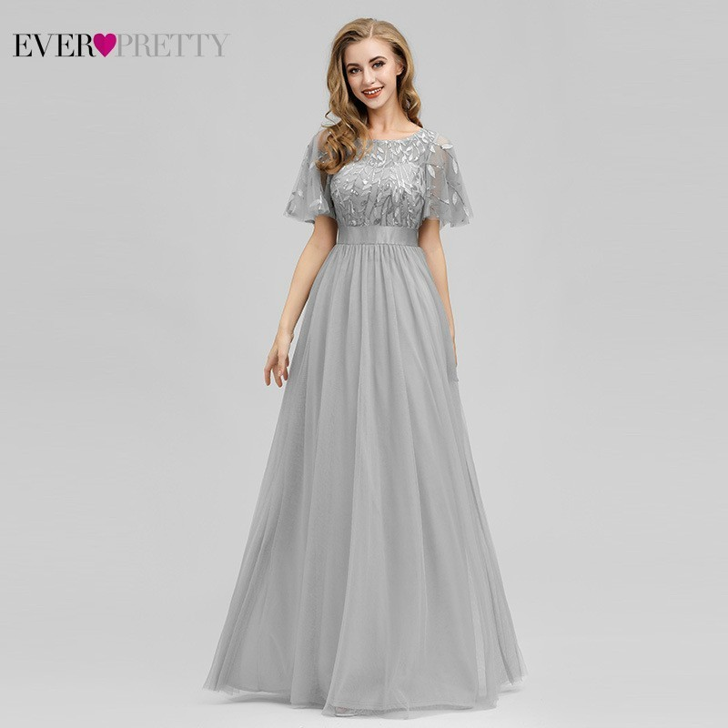 Robe De soirée étincelle robes De soirée longue jamais jolie EP00904GY a-ligne o-cou à manches courtes robes formelles femmes robes élégantes