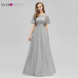 Robe De Soiree блестящие вечерние платья Длинные Ever Pretty EP00904GY A-Line o-образным вырезом с коротким рукавом Вечерние платья женские элегантные платья