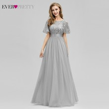 Formal Dresses Short-Sleeve Elegant Gowns Robe-De-Soiree Sparkle Ever Pretty A-Line Long