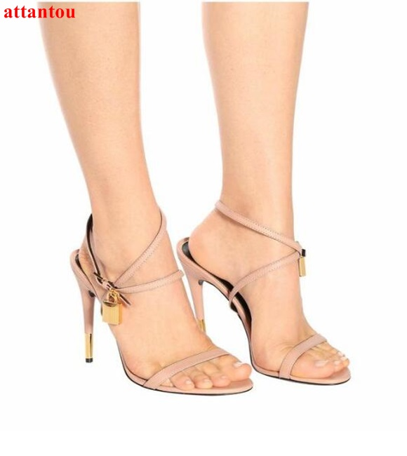 Summer hot sale open toe woman sandals gloden lock key decor dress shoes female high heel wedding party sexy pumps ankle buckle covibesco nude high heels sandals women ankle strap summer dress shoes woman open toe sandals sexy prom wedding shoes large size