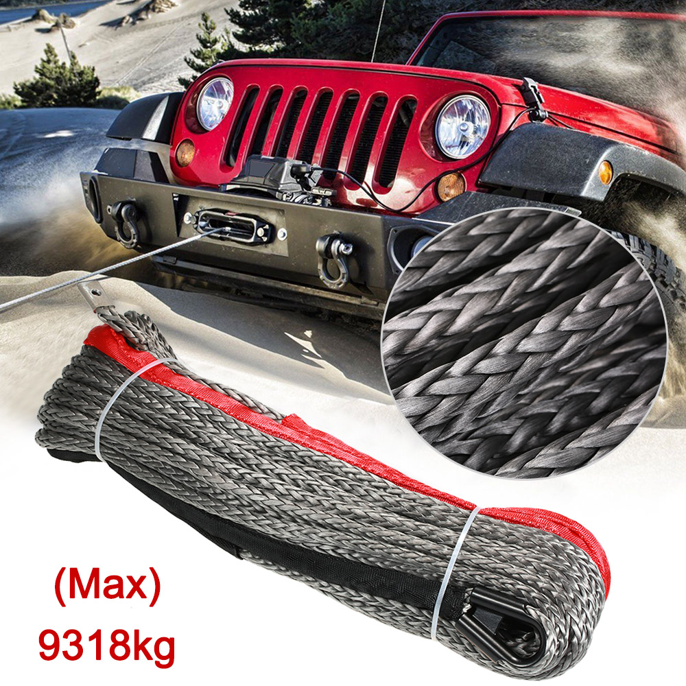 10mm*28m 3/8*92' 20500lbs High Strength Synthetic Winch Line Cable Rope oversea 27m 10mm synthetic winch rope cable with protective sleeve breaking strength 20500 lbs winch line for atv tuck black