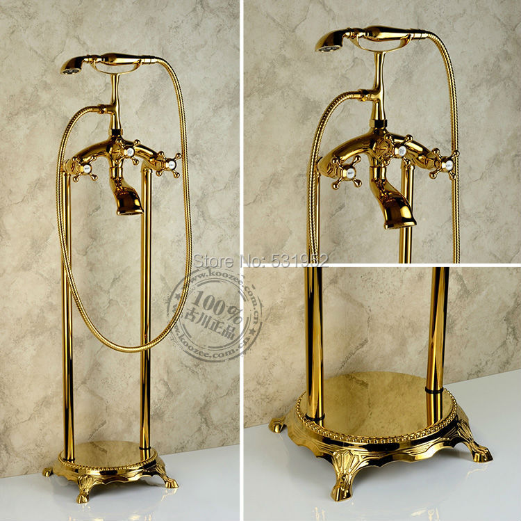 Free shipping Floor Mounted Gold Plate Bathtub Faucet Double Handle antique Brass Mixer Tap Bath & Shower Faucets Wholesale free shipping polished chrome finish new wall mounted waterfall bathroom bathtub handheld shower tap mixer faucet yt 5333