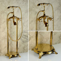 Free shipping Floor Mounted Gold Plate Bathtub Faucet Double Handle antique Brass Mixer Tap Bath & Shower Faucets Wholesale