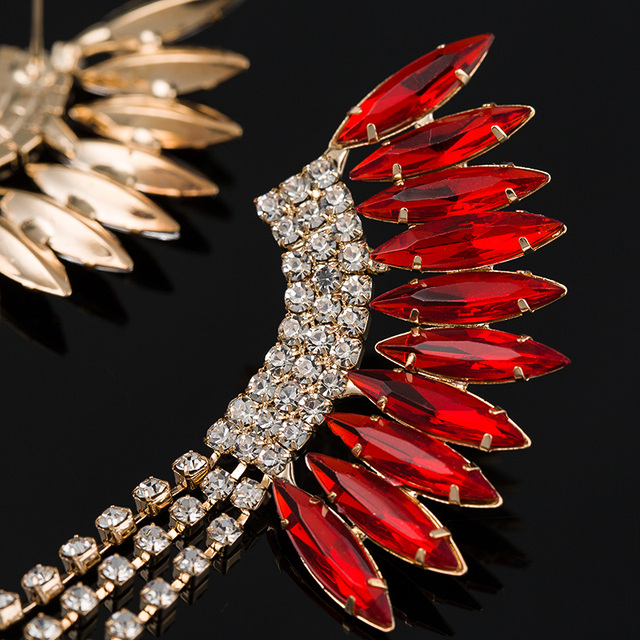 Gold Plated Peacock Tassel Rhinestone Drop Earrings