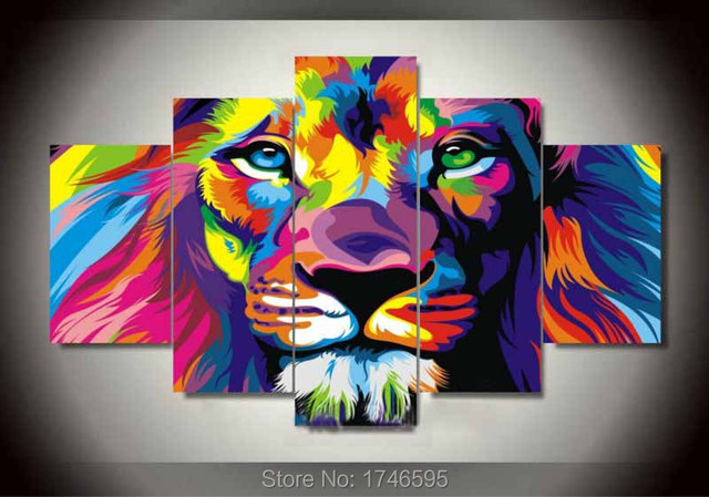 Perfect Big Size Abstract Living Room Wall Decor Colorful Wall Art Picture Decor  Printed Lion King Painting