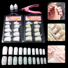 5 in 1 Basic Nail Art Set DIY Natural White French Tips Clipper Glue Kit