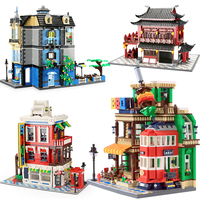 City Architecture China Hotel Coffee House Garden compatible Creative Building Blocks Construction Brick DIY kids kits toys gift