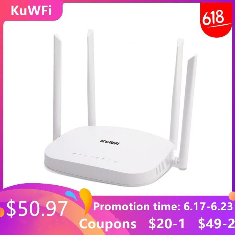 KuWFi Routeur Wifi 4G LTE, 300 Mbps 3G/4G CPE Sans Fil avec fente pour carte sim Support 4G pour Périphériques LAN Avec 4 pièces Externes Anten