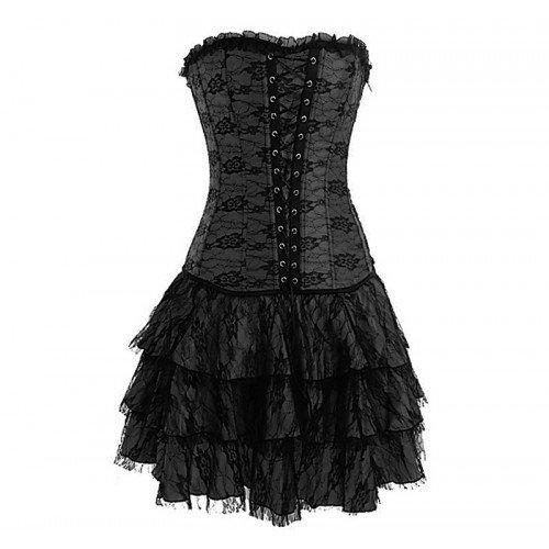 Floral Lace Gothic Burlesque Corset and match tutu skirt set fancy dress