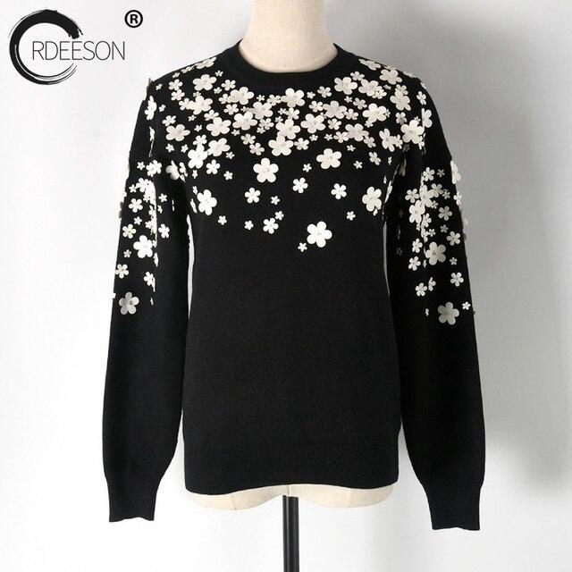 Ordeeson зима 3D бисера мерное кожа цветок толстый Утепленная одежда Для женщин Свитеры для женщин и Пуловеры для женщин джемпер зима Круглый воротник осень