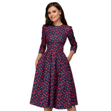 2018 Vintage Printing Party Women A-line Dress Vestidos Three Quarter Sleeve Autumn