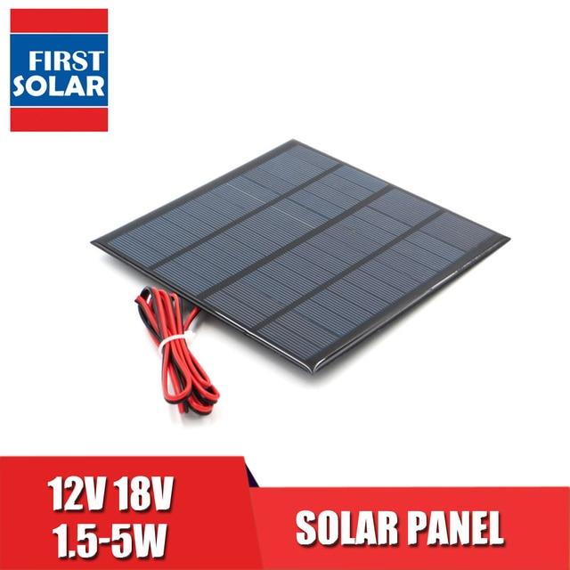 DC 12V Solar Panel Battery Charger Mini Solar System DIY For Battery Cell Phone Bus Car 1.8W 1.92W 2W 2.5W 3W 1.5W 4.5W 5W